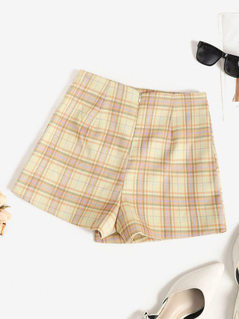 hot Plaid Overlap Shorts - BURLYWOOD S Mobile