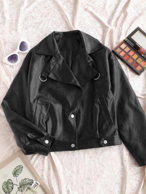 fashion Faux Leather Snap Button Pockets Biker Jacket - BLACK L Mobile