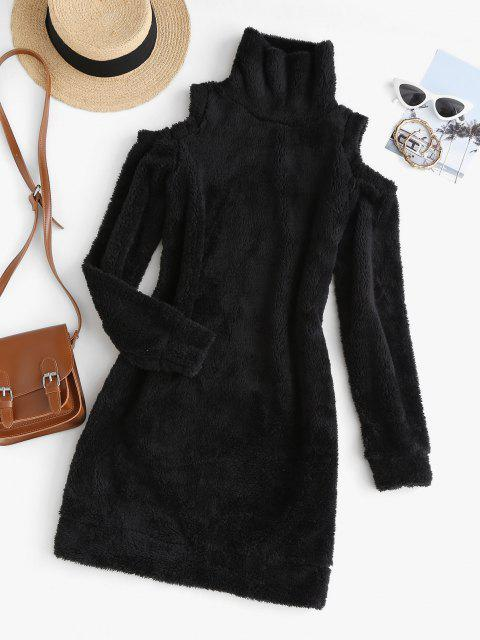 outfits Cold Shoulder Slinky Fluffy Long Sleeve Dress - BLACK L Mobile
