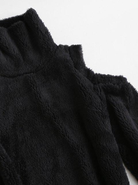 ladies Cold Shoulder Slinky Fluffy Long Sleeve Dress - BLACK S Mobile
