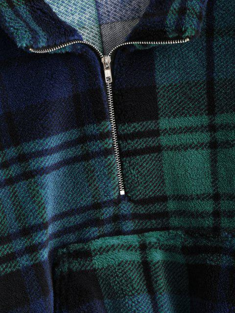 women's Plaid Half Zip Borg Teddy Sweatshirt - DEEP GREEN L Mobile