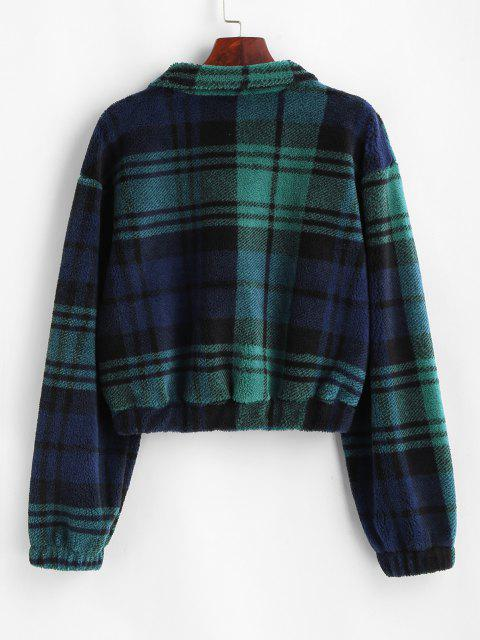 outfits Plaid Half Zip Borg Teddy Sweatshirt - DEEP GREEN M Mobile