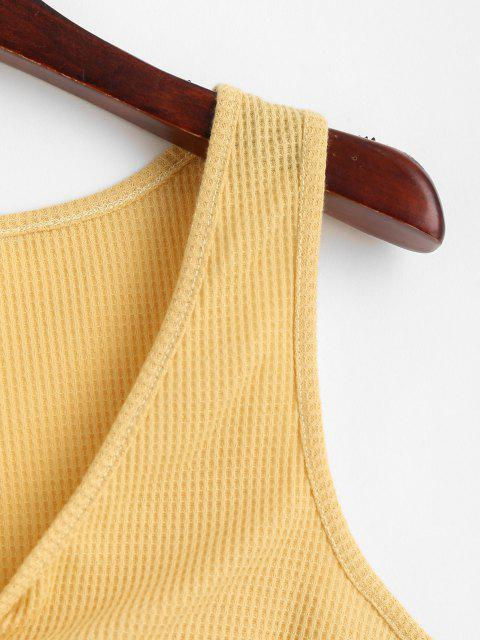 lady Knitted Twisted Plunging Crop Tank Top - YELLOW L Mobile