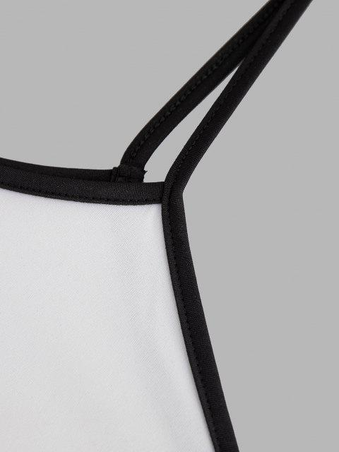 outfits Lounge Contrast Binding Drawstring Two Piece Set - WHITE S Mobile