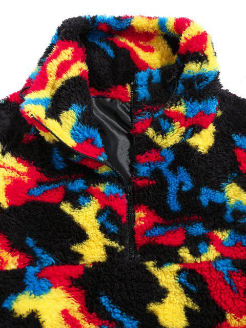 new ZAFUL Camouflage Pattern Quarter Zip Fluffy Sweatshirt - MULTI XL Mobile