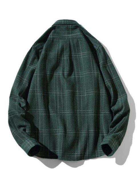 outfits Stitching Design Plaid Shirt - GREEN S Mobile