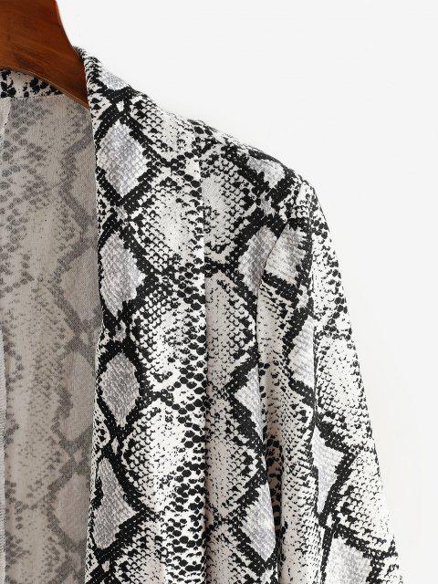 sale Plus Size Snakeskin Padded Shoulder Open Front Blazer - WHITE 1XL Mobile