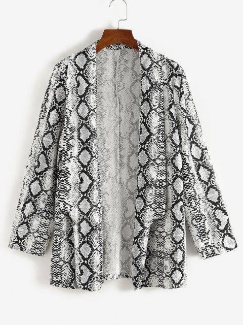 womens Plus Size Snakeskin Padded Shoulder Open Front Blazer - WHITE 4XL Mobile