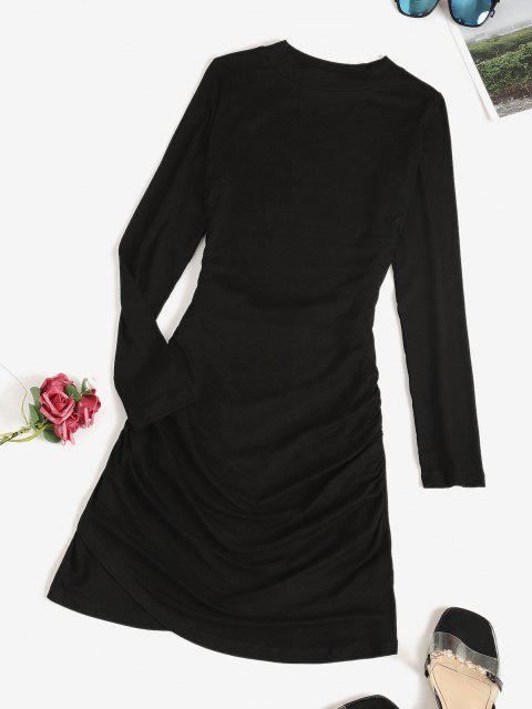 fancy Long Sleeve Ruched Draped Mini Dress - BLACK S Mobile