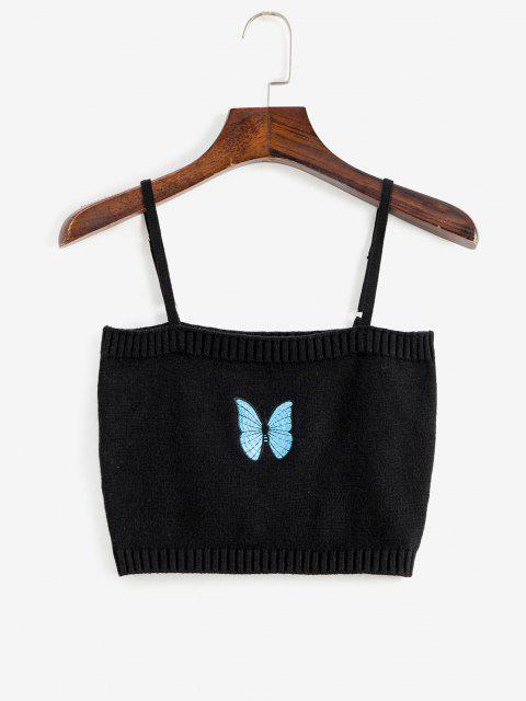 latest Knitted Butterfly Embroidered Crop Camisole - BLACK S Mobile