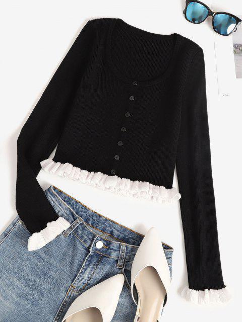 buy Ribbed Ruffle Colorblock Crop Cardigan - BLACK S Mobile