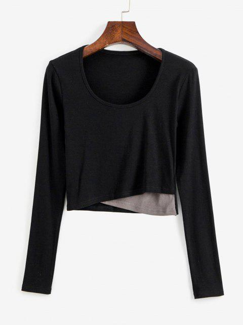 T-Shirt Corta Incrociata Sul Davanti - Nero M Mobile