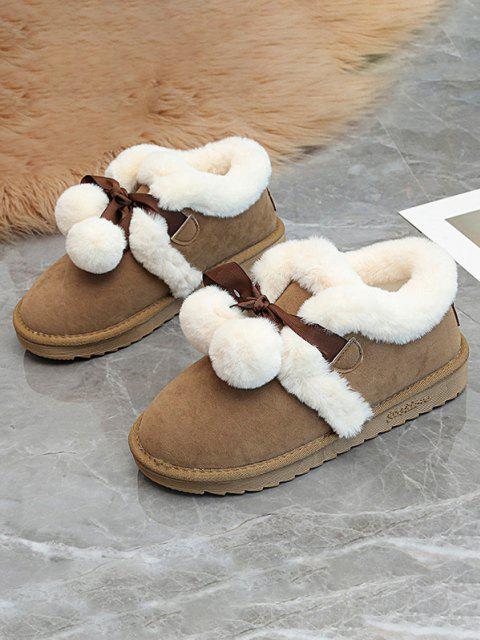 best Pom Pom Plush Snow Boots - BROWN EU 38 Mobile