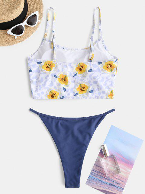 ZAFUL Maillot de Bain Bikini Léopard Fleuri à Coupe Haute - Bleu S Mobile