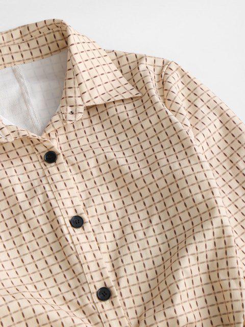 Robe Chemise Plissée en Avant à Carreaux à Manches Longues - café lumière L Mobile
