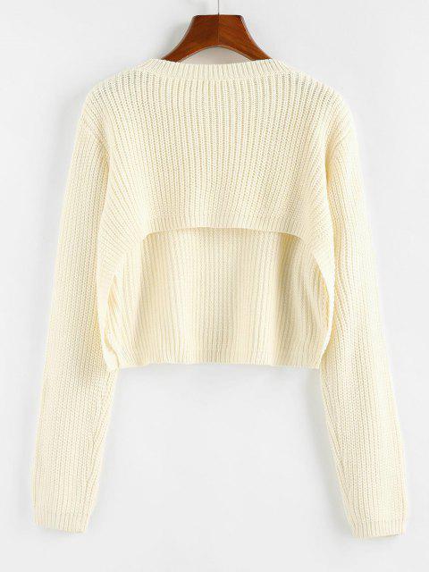 women's ZAFUL Cutout Back Crop Jumper Sweater - WHITE M Mobile