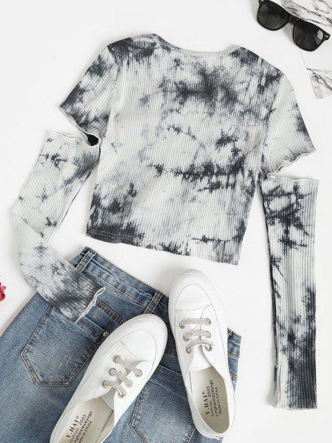 latest Tie Dye Ribbed Cinched Cutout Baby Tee - GRAY M Mobile