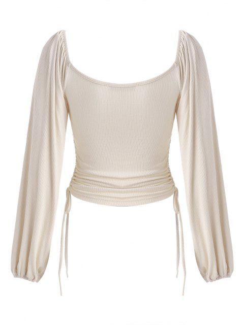 women's Ruched Cinched Side Ribbed Top - BURLYWOOD M Mobile