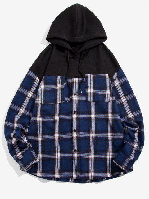 outfit Plaid Print Double Pockets Fleece Hoodie - BLACK 2XL Mobile