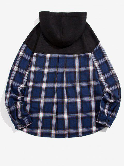 outfits Plaid Print Double Pockets Fleece Hoodie - BLACK S Mobile