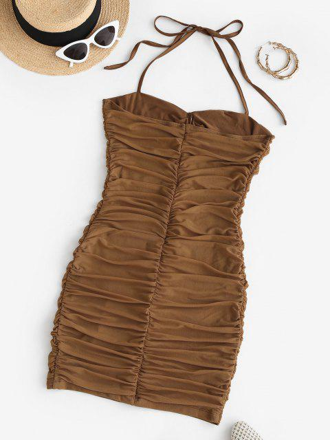 shop Gathered Mesh Halter Slinky Dress - COFFEE S Mobile