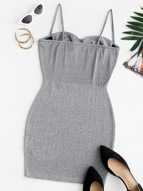 women's Cami Glitter Bustier Slinky Party Dress - GRAY S Mobile