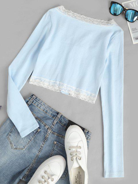 sale Long Sleeve Lace Trim Crop Ribbed Tee - LIGHT BLUE L Mobile