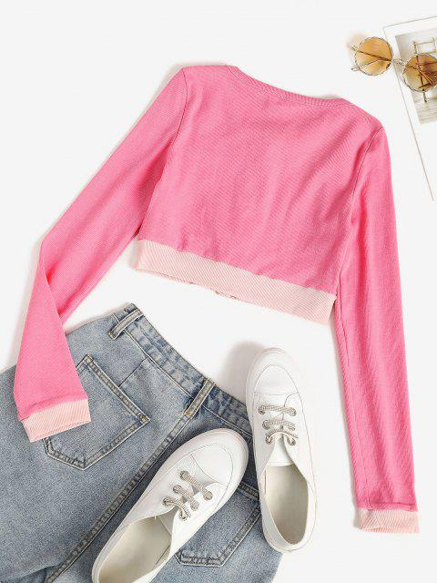 fashion Two Tone Jersey Knit Crop Baby Tee - LIGHT PINK L Mobile