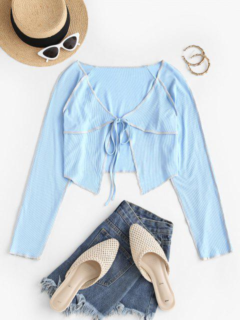 outfits Ribbed Tie Front Contrast Stitching Top - LIGHT BLUE L Mobile