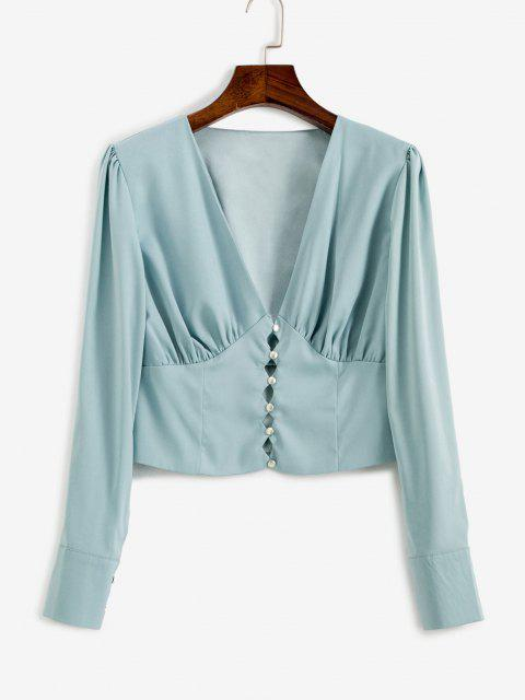 lady V Neck Button Loop Ruched Blouse - BABY BLUE M Mobile