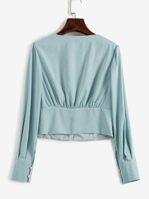 latest V Neck Button Loop Ruched Blouse - BABY BLUE L Mobile
