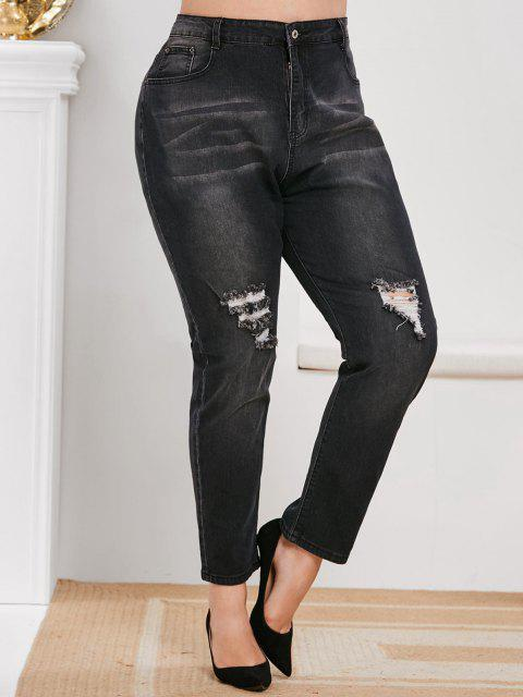 affordable Plus Size Ripped Knee Dark Wash Jeans - BLACK L Mobile