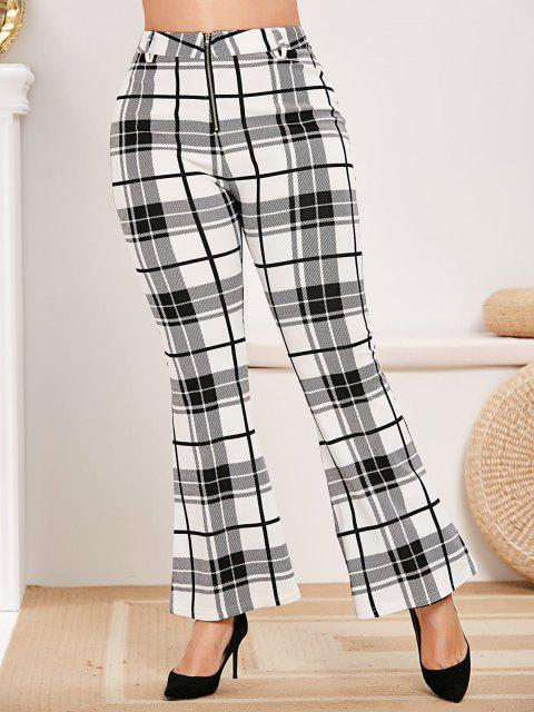 Plus Size Zip Fly Plaid Bell Bottom Pants - Bianca L Mobile
