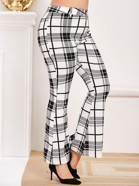 Plus Size Zip Fly Plaid Bell Bottom Pants - أبيض 4X Mobile