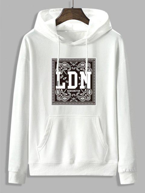 womens Front Pocket Paisley LDN Graphic Fleece Lined Hoodie - WHITE M Mobile