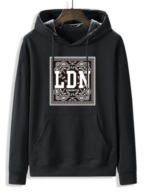 latest Front Pocket Paisley LDN Graphic Fleece Lined Hoodie - BLACK M Mobile