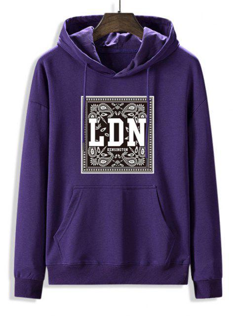 shops Front Pocket Paisley LDN Graphic Fleece Lined Hoodie - PURPLE IRIS M Mobile