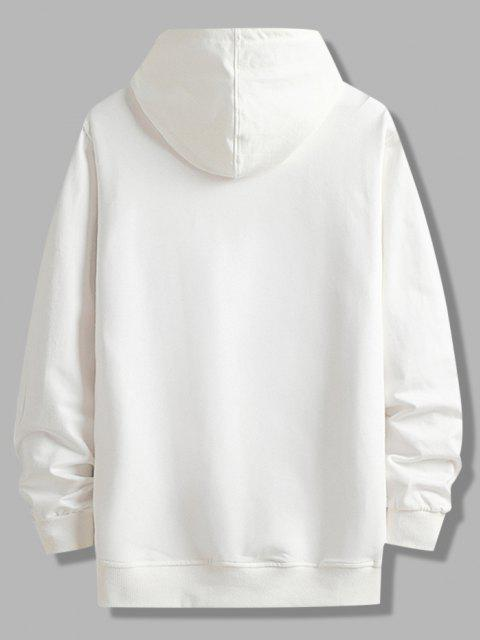 trendy Front Pocket Letter Zip Graphic Fleece Lined Hoodie - WHITE M Mobile