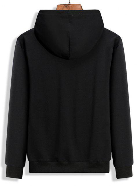 womens Fleece Lined Letter Dragon Oriental Hoodie - BLACK 2XL Mobile