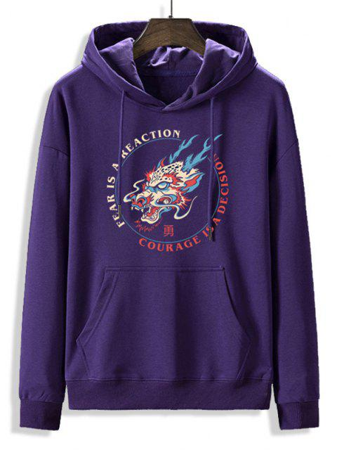 unique Fleece Lined Letter Dragon Oriental Hoodie - PURPLE IRIS XL Mobile