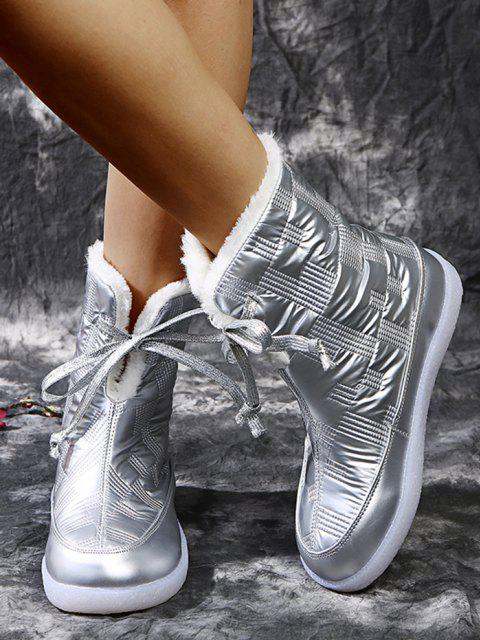 shops Padded Lace Up Fleece Boots - SILVER EU 37 Mobile