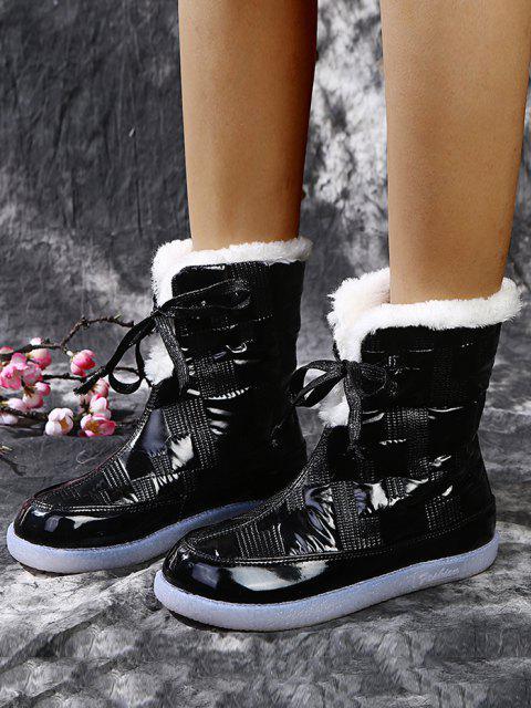 fashion Padded Lace Up Fleece Boots - BLACK EU 37 Mobile