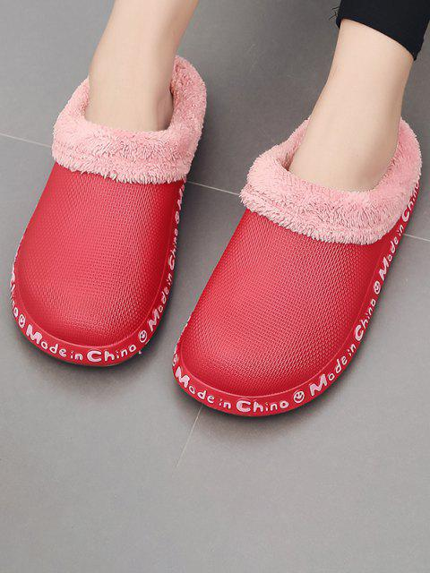 sale Letter Smile Face Pattern Plush Slippers - RED EU 37 Mobile