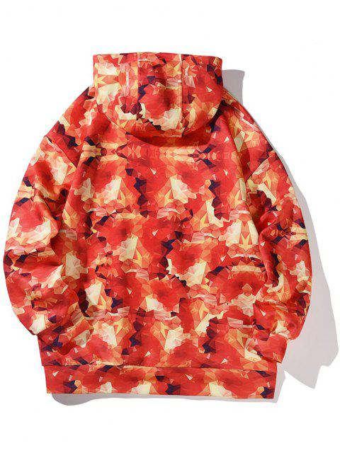 outfits Drawstring Front Pocket Brilliant Print Hoodie - RED L Mobile
