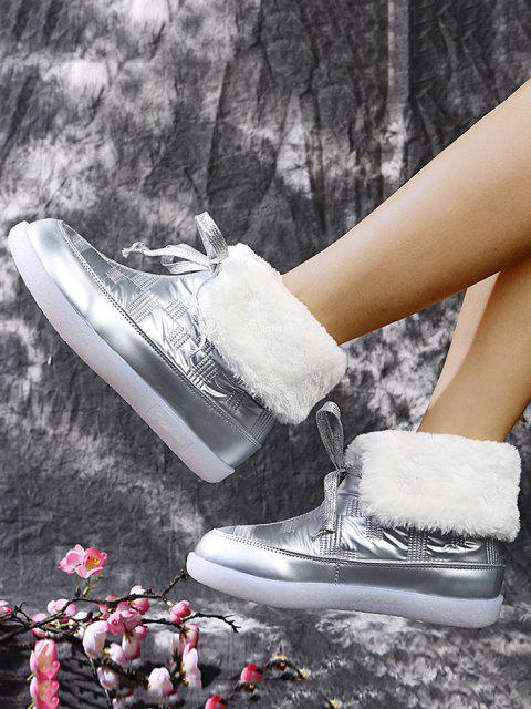 Stivali in Pile con Lacci - Argento UE 40 Mobile