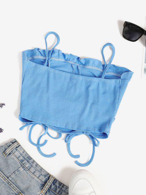 Haut Court à Bretelle Côtelé Plissé - Bleu clair L Mobile