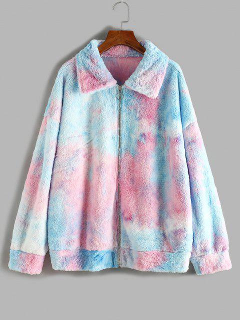 ZAFUL Plus Size Fluffy Tie Dye Drop Shoulder Coat - أزرق فاتح L Mobile