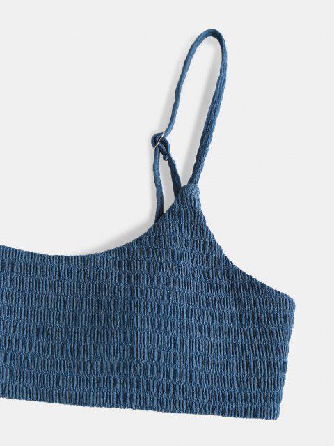 best ZAFUL Smocked Side Tie Bikini Swimwear - DEEP BLUE S Mobile