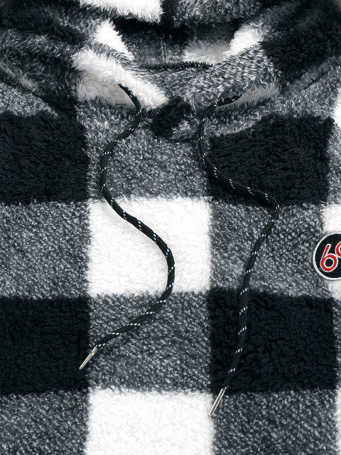 womens ZAFUL Plaid Print Sherpa Fleece Hoodie - BLACK S Mobile