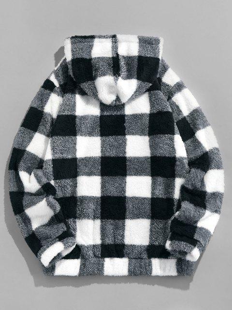lady ZAFUL Plaid Print Sherpa Fleece Hoodie - BLACK 2XL Mobile
